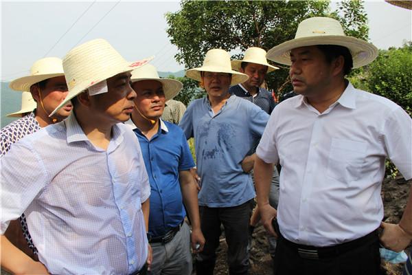 周金龙(右一),朱平波(左一)在川山坪镇玉池山村玉明片区指导灾后重建
