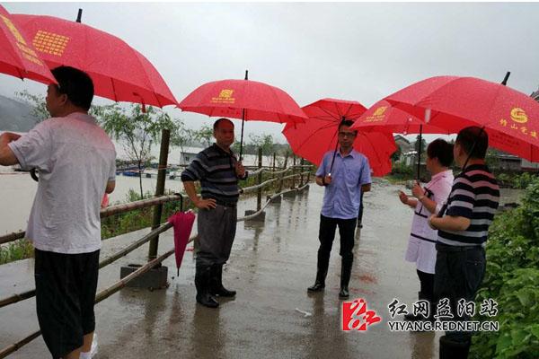 桃江 修山镇党员小红伞撑起防汛 安全罩